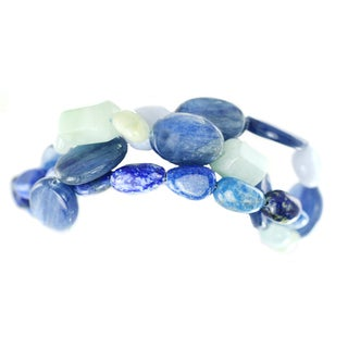 One-of-a-kind Michael Valitutti Kyanite, Green Beryl, Lace Agate, Lapis Lazuli and Sodalite Multi-Strand Bracelet