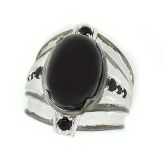 One-of-a-kind Michael Valitutti Black Star Diopside with Black Spinel Men's Ring