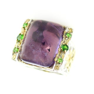 One-of-a-kind Michael Valitutti Brazillian Amethyst with Tsavorite Garnet Ring