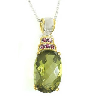 Michael Valitutti Check Top Olive Quartz with Pink Tourmaline Pendant