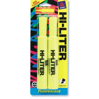 Avery 24081 Yellow Fluorescent Hi-Liter® 2 Count
