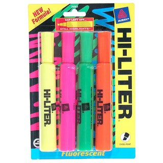 Avery 24063 Assorted Fluorescent Desk Style Highlighters 4 Count