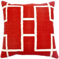 Red Decorative Woven Cotton Throw Pillow