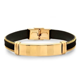 Men's 18k Goldplated Stainless Steel and Black Leather Bracelet