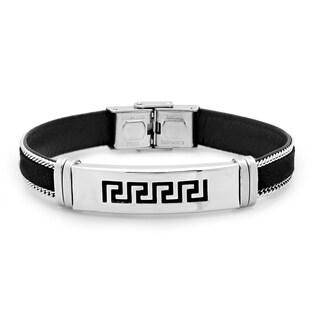 Steeltime Men's Stainless Steel Black Leather Greek Key Bracelet