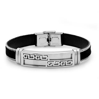 Silvertone Black Leather Bracelet