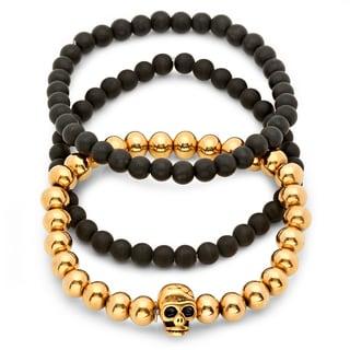 Black Lava and 18k Gold-plated Bracelets (Set of 3)
