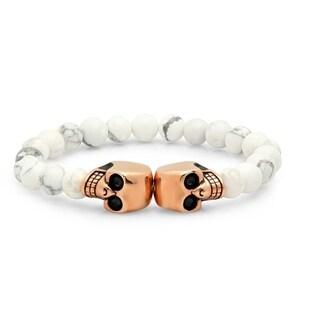 Men's Steeltime Simulated White Marble Skull Bracelet