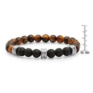Men's Tiger Eye and Black Lava White/Yellow Stainless Steel Beaded Bracelet