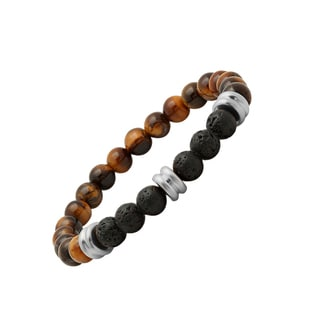Men's Tiger Eye and Black Lava White/Yellow Stainless Steel Beaded Bracelet