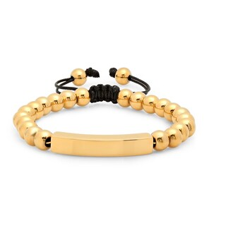 Steeltime Men's Gold Tone Beaded Drawstring Bracelet