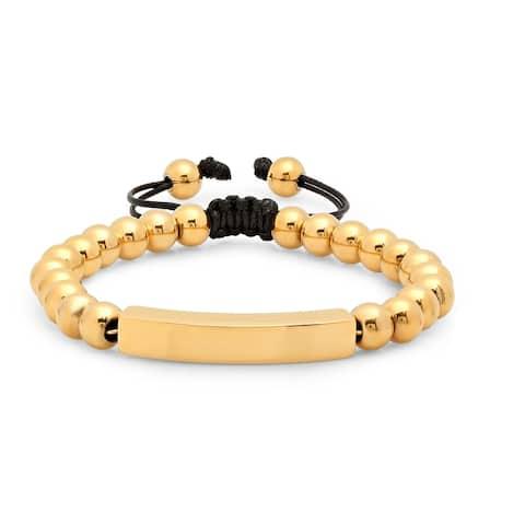 Steeltime Men's Gold Tone Beaded Drawstring Bracelet