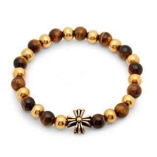 Men's Tiger Eye and 18k Gold-plated Beaded Bracelet