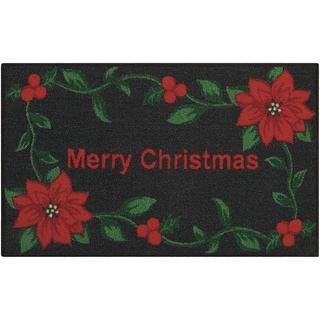 Nourison Essential Elements Merry Christmas Poinsettia Black Accent Rug (1'5 x 2'4)