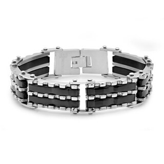 Men's Silvertone and Black IP Stainless Steel Bracelet