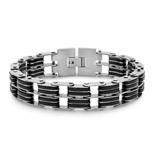 Men's Silvertone and Black Stainless Steel and Rubber Link Bracelet