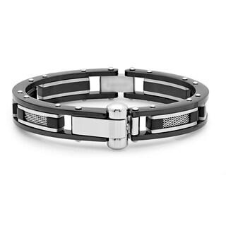 Men's Black IP Carbon Fiber Hinge Bracelet