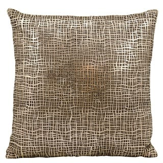 Mina Victory Natural Hide Sitara Laser Cut Gold/ Beige 18 x 18-inch Throw Pillow by Nourison