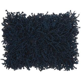 Mina Victory Shag Skinny Fugga Navy Throw Pillow (14-inch x 20-inch) by Nourison