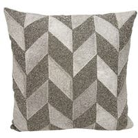 Mina Victory Natural Hide Shimmer Chevron Grey/ PewterThrow Pillow by Nourison (18-Inch X 18-Inch)