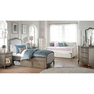 Kensington Katherine Antique Silver Upholstered Twin-size Storage Bed