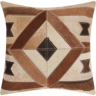 Mina Victory Dallas Centered Diamond Brown Throw Pillow (20-inch x 20-inch) by Nourison