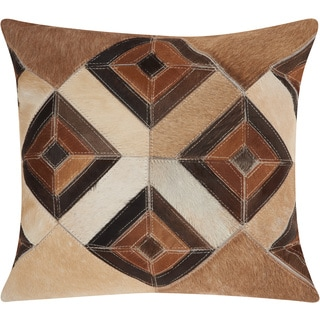 Mina Victory Dallas Four Eyed Diamonds Beige Throw Pillow (20-inch x 20-inch) by Nourison