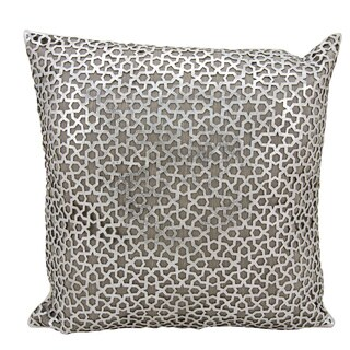 Mina Victory Natural Hide Arabic Geometric Silver/ White 18 x 18-inch Throw Pillow by Nourison