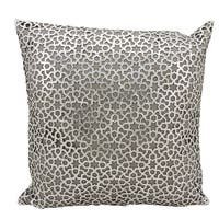 Mina Victory Natural Hide Arabic Geometric Silver/ WhiteThrow Pillow by Nourison (18-Inch X 18-Inch)