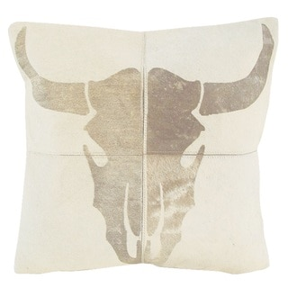 Mina Victory Dallas Steer Skull Laser Cut White Throw Pillow (20-inch x 20-inch) by Nourison