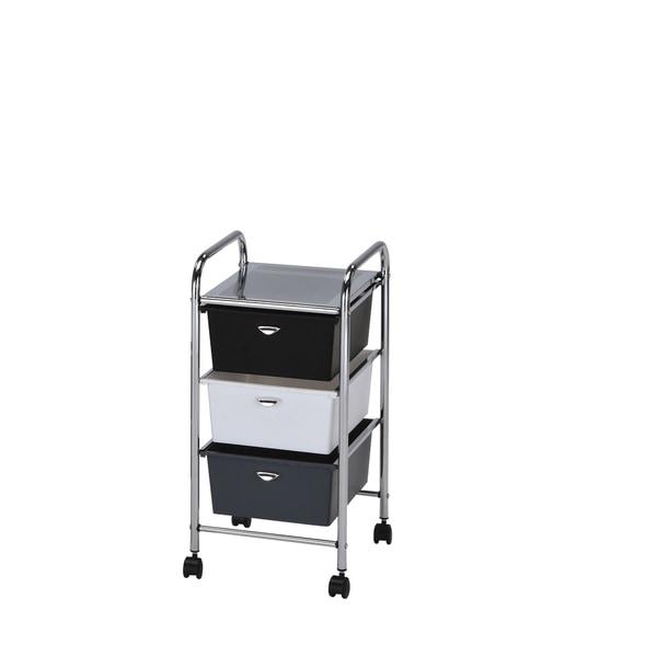 Myah Multicolor Metal 3 Drawer Storage Cart