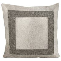 Mina Victory Natural Hide Brilliant Frame Grey/ Pewter 18 x 18-inch Throw Pillow by Nourison