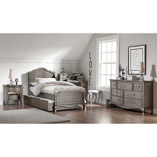 Kensington Charlotte Antique Silver Twin-size Panel Bed with Trundle