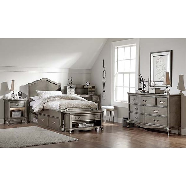 Kensington Charlotte Antique Silver Twin-size Panel Bed with Storage
