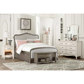 Kensington Katherine Antique Silver Full-size Upholstered Panel Bed with Trundle