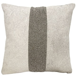 Mina Victory Natural Hide Shimmer Stripe Grey/ PewterThrow Pillow by Nourison (18-Inch X 18-Inch)