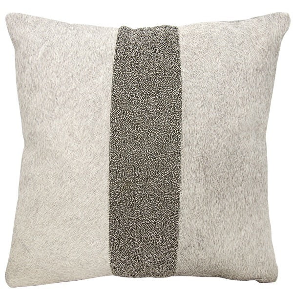 Mina Victory Natural Hide Shimmer Stripe Grey/ Pewter 18 x 18-inch Throw Pillow by Nourison