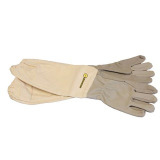 Bee Champions Extra Large Leather/Canvas Protective Beekeeping Gloves - 2 Pack