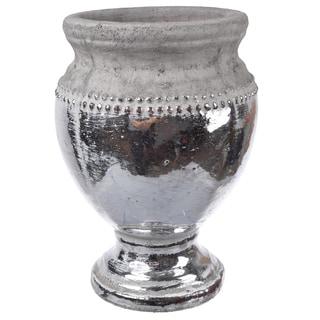 Silvertone Ceramic 9.5-inch x 7-inch Diameter Vase