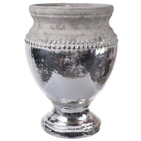 A&B Home Silver-colored Ceramic Table Vase