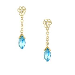 One-of-a-kind Michael Valitutti 14k Blue Topaz Briolette Dangling Stud Earrings