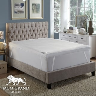 MGM Grand Hotel 4inch Platinum Collection Mattress Topper Filled Goose Down Alternative Fiber-100% Cotton Feather Proof
