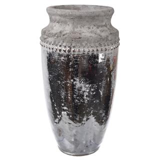 Silver/Brown Ceramic 6-inch x 11-inch Vase