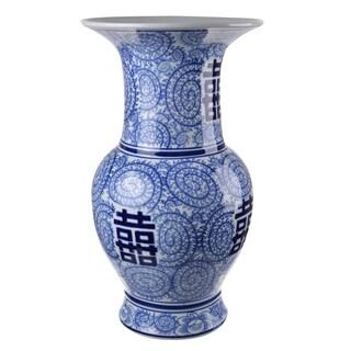 18-inch Tall x 10-inch Diameter Blue/White Ceramic Vase