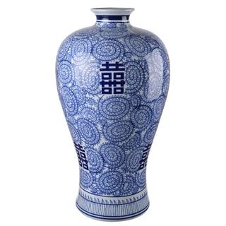 Blue/White Ceramic 24-inch x 13-inch Diameter Vase