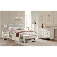 Kensington Katherine Antique White Full-size Upholstered Panel Bed with Storage