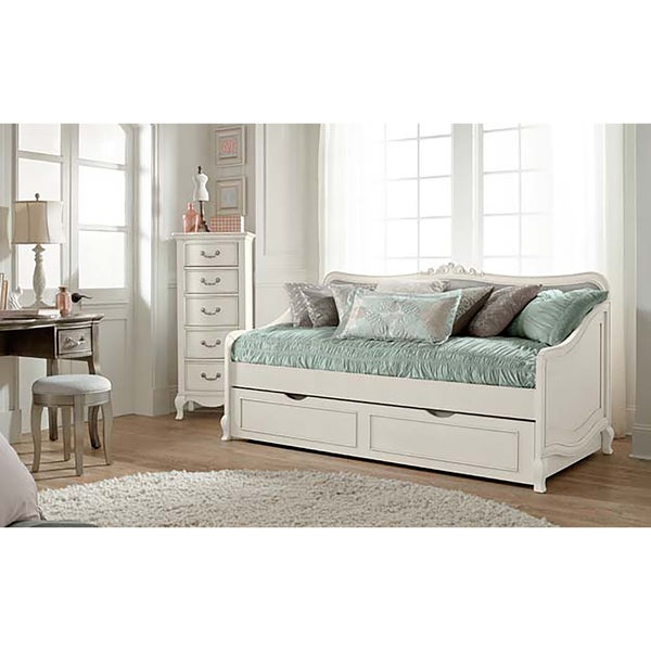 shop kensington elizabeth antique white twin size daybed with trundle free shipping today. Black Bedroom Furniture Sets. Home Design Ideas