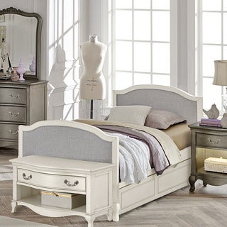 Kensington Victoria Antique White Twin-size Upholstered Panel Bed with Trundle