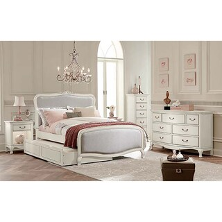 Kensington Katherine Antique White Full-size Upholstered Panel Bed with Trundle