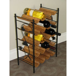 Black/Brown Metal Wicker Wine Rack